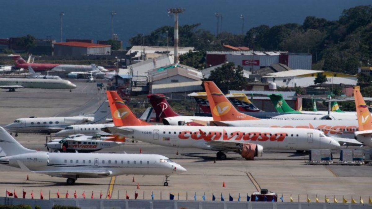 Aviones en el Aeropuerto Internacional Simón Bolívar, en Maiquetía, Venezuela.