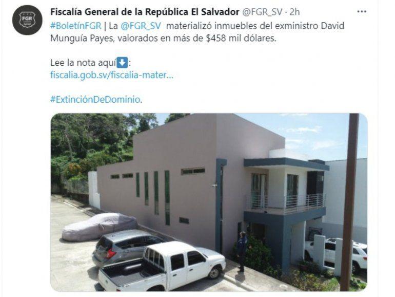 Con este procedimiento se concluye la etapa de incautación de los bienes del exministro de Defensa de El Salvador