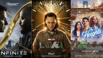 En esta combinación de fotos, el arte promocional de la película Infinite, la serie Loki y la cinta musical In the Heights, que se estrenan esta semana en cine y/o servicios de streaming. (Paramount+/Disney+/HBO Max vía AP)