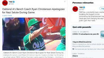 Sin intención, mi gesto resultó en un saludo racista y horrible en el que no creo,afirmóRyan Christenson, coach de banca de los Atléticos de Oakland, una de las 30 organizaciones de las Grandes Ligas