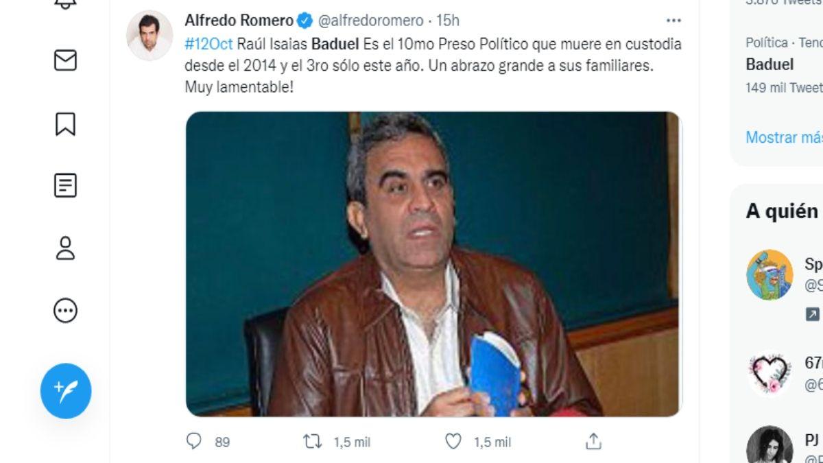 El preso político Raúl Isaías Baduel falleció este 12 de octubre, bajo custodia del régimen de Nicolás Maduro.