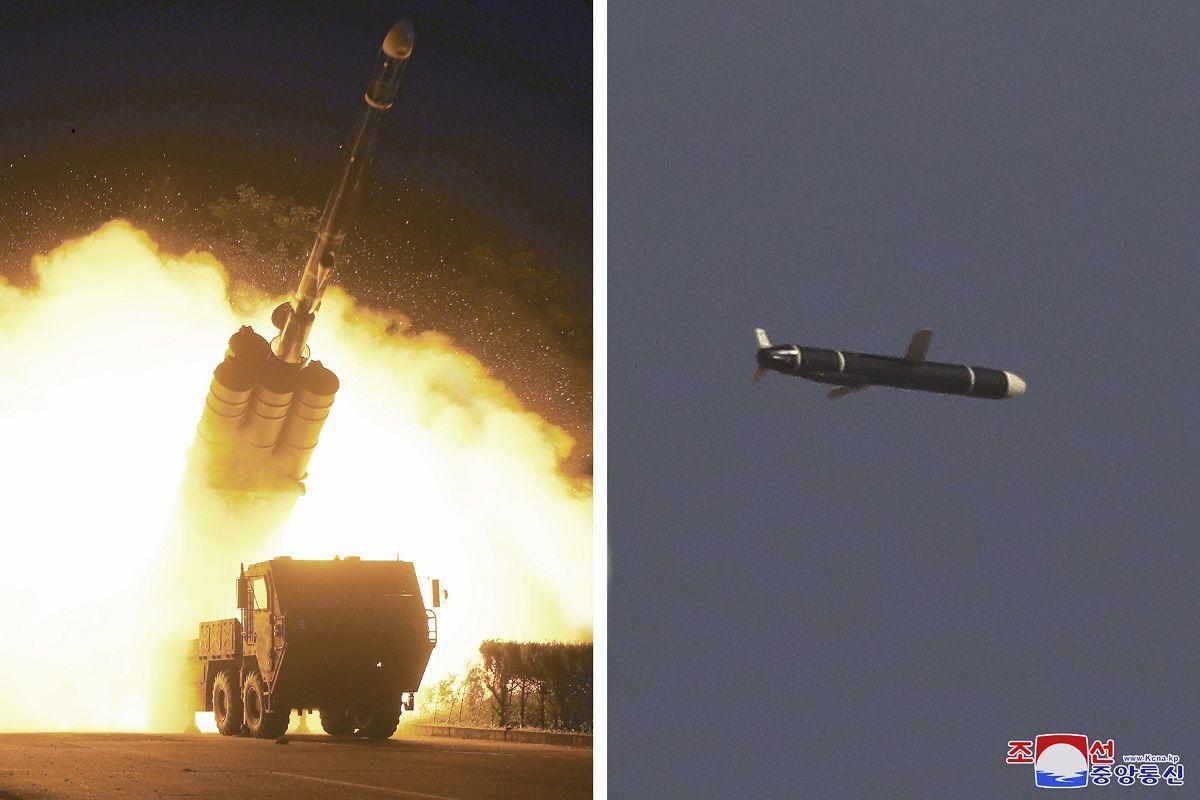 Esta combinación de fotografías proporcionada por el gobierno norcoreano el lunes 13 de septiembre de 2021 muestra pruebas de misiles de largo alcance efectuadas entre el 11 y el 12 de septiembre de 2021 en un lugar no revelado, en Corea del Norte.