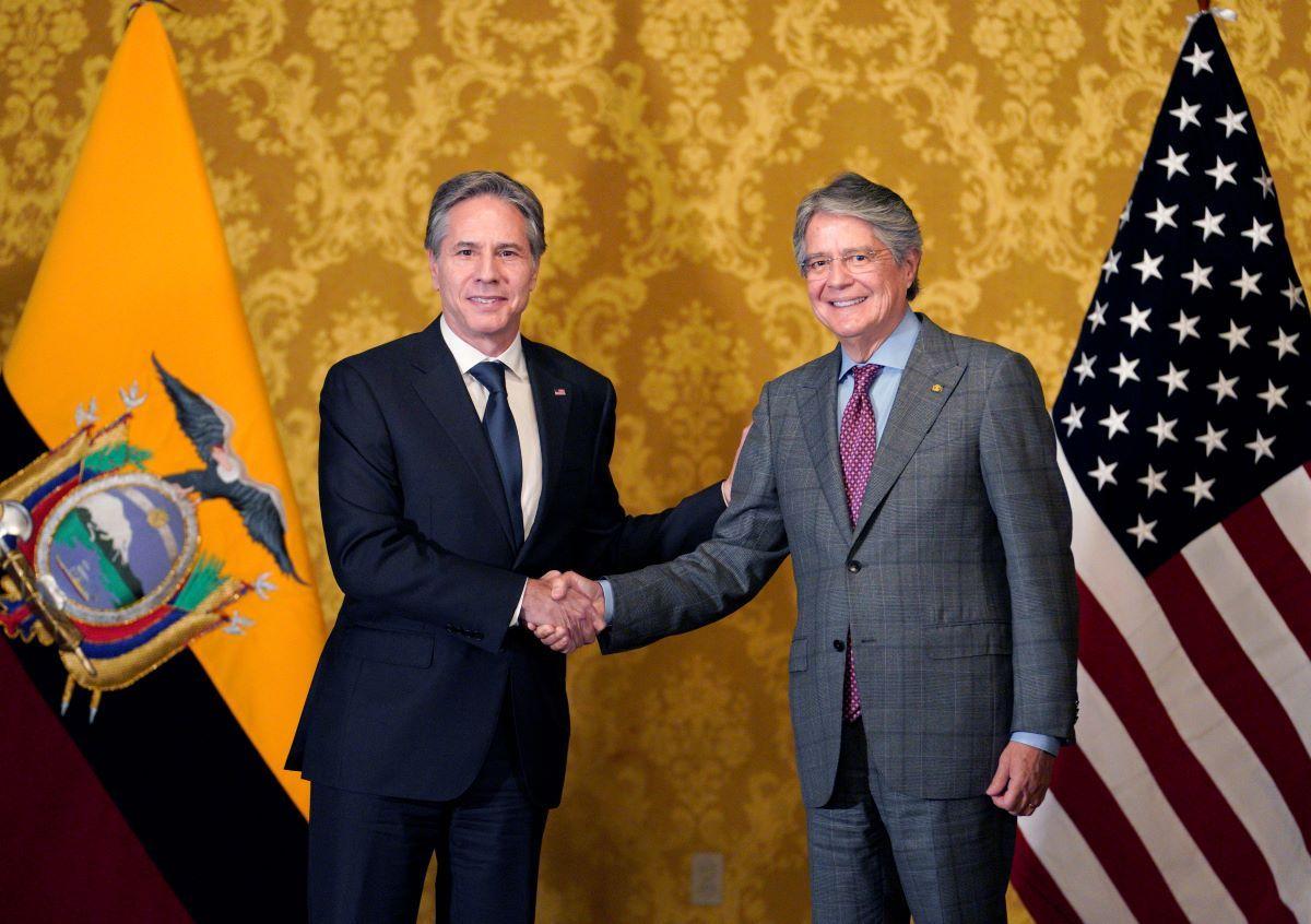 El secretario de Estado de Estados Unidos, Antony Blinken, y el presidente de Ecuador, Guillermo Lasso.