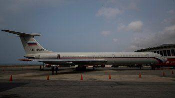 Vista de una Aeronave Ilyushin Il-62M de la Fuerza Aérea deRusia(número de cola RA-86496) llegó al Aeropuerto Internacional Simón Bolívar el pasado 23 de marzo.