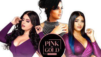 En esta imagen promocional, Mitchelle Cobb, Scarlet Collado e Isveny Pichardo, las tres dominicanas a cargo de la línea de belleza Pink as Gold.