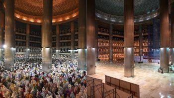Combinación de imágenes de la Gran Mezquita de Istiqlal el 5 de mayo de 2019 y el 24 de abril de 2020, en la primera noche del mes sagrado del Ramadán, en Yakarta.