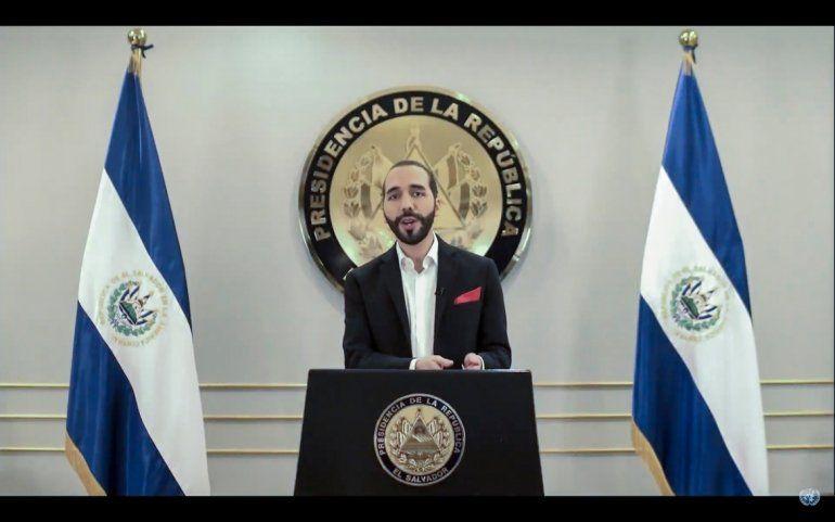 El presidente de El Salvador Nayib Bukele habla en un discurso pregrabado ante la Asamblea General de Naciones Unidas el martes 29 de septiembre del 2020.