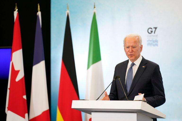 El presidente Joe Biden habla en una conferencia de prensa tras acudir a la cumbre de G7
