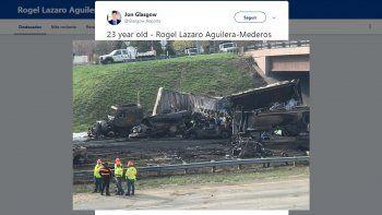 Imagen del accidente en el que estuvo involucrado el conductor cubano Rogel Lázaro Aguilera-Mederos en la carretera Interestatal 70, en Denver, Colorado, publicada en Twitter por @Glasgow_Reports.