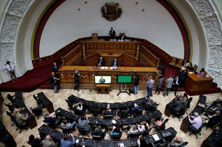Fotografía del 17 de septiembre de 2019 de una sesión de Parlamento venezolano encabezada por el presidente del poder legislativo