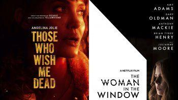En esta combinación de fotos, el arte promocionar de las películas Those Who Wish Me Dead, que se estrena el viernes en HBO Max, y The Woman in the Window, que debuta el viernes en Netflix.