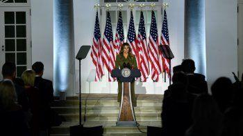 La primera dama de Estados Unidos, Melania Trump, fue una de las principales oradoras durante la segunda noche de la Convención Nacional republicana, el 25 de agosto de 2020.