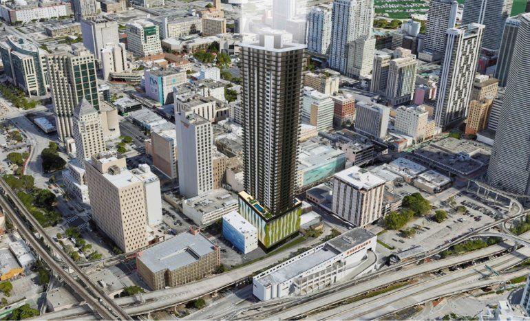 Imagen digitalizada de lo que será el edificio Downtown 1st (centro de la foto) en 22 SW 1st Street