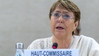 La alta comisionada para los Derechos Humanos de la ONU, Michelle Bachelet, habla de la situación de los derechos humanos en Venezuela, el viernes 5 de julio de 2019.