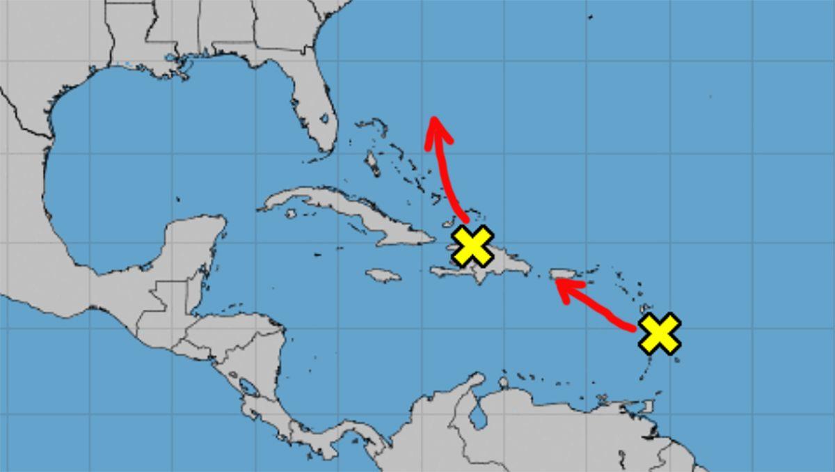 Proyecciones de dos zonas de mal tiempo, 12 de octubre de 2021.