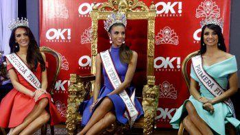 Oricia Domínguez, de Táchira, segunda finalista; Isabella Rodríguez, Miss Venezuela 2018; y Alondra Echeverría, de Yaracuy, primera finalista del evento.