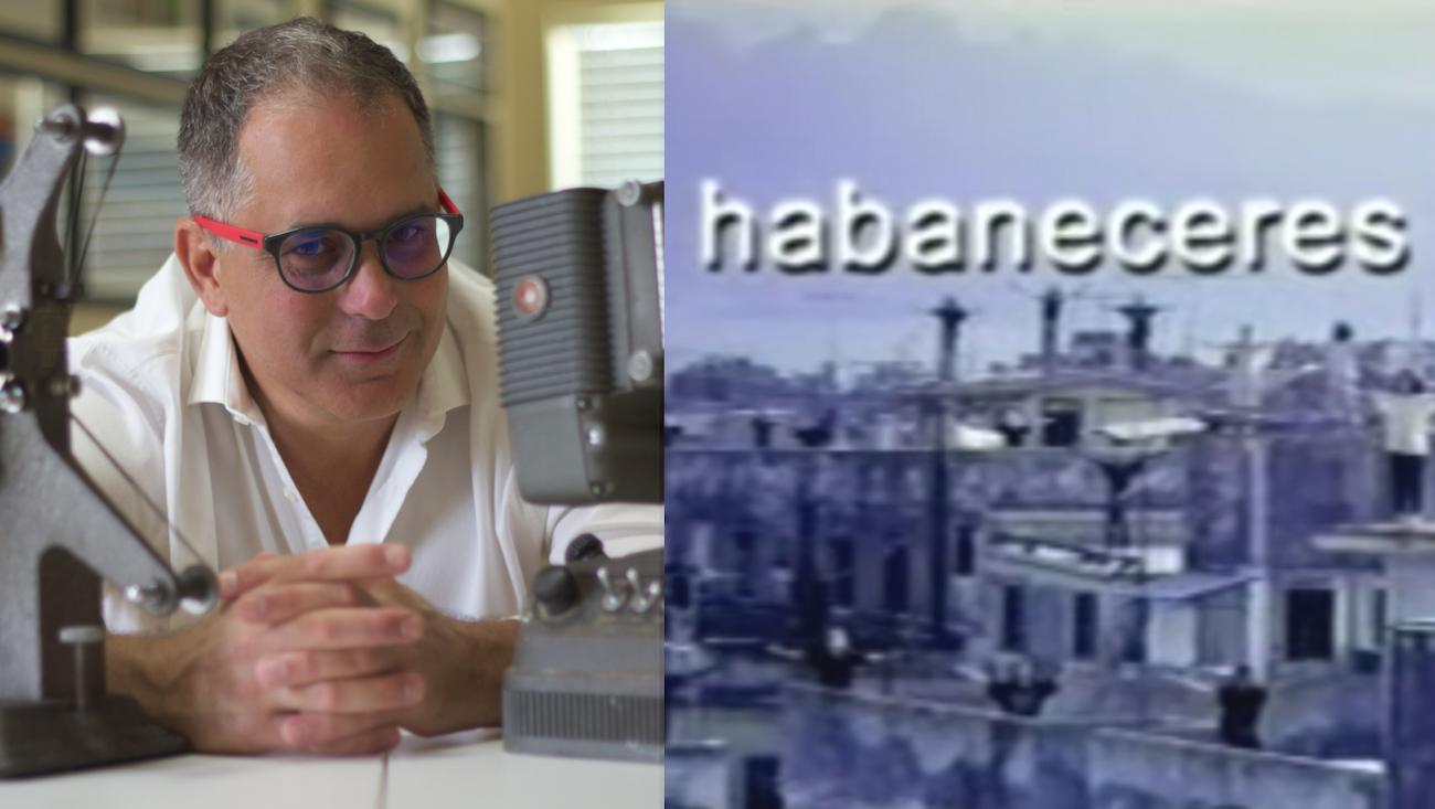 El realizador Luis Leonel León junto a un fotograma de su documental Habaneceres.
