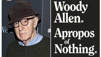 En esta combinación de fotografías el director Woody Allen en una función especial de Wonder Wheel en Nueva York el 14 de noviembre de 2017, izquierda, y la portada de su autobiografía Apropos of Nothing. Las memorias de Allen fueron publicadas con una nueva editorial, Arcade Publishing, después de que las críticas llevaran a que su sello original las abandonaran.