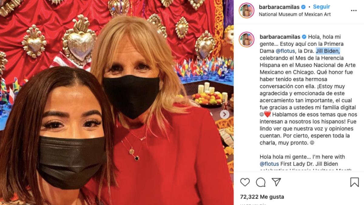 Bárbara Camila junto a Jill Biden