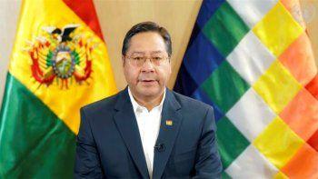 El presidente boliviano Luis Arce habla en un mensaje pregrabado, reproducido durante la sesión especial de la Asamblea General de la ONU, el jueves 3 de diciembre de 2020.