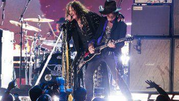 Aerosmith (Steven Tyler y Joe Perry) en la presentación de la 62 entrega de los Grammy Awards, en Los Angeles, California. CA. (Robert Gauthier / Los Angeles Times / Polaris).