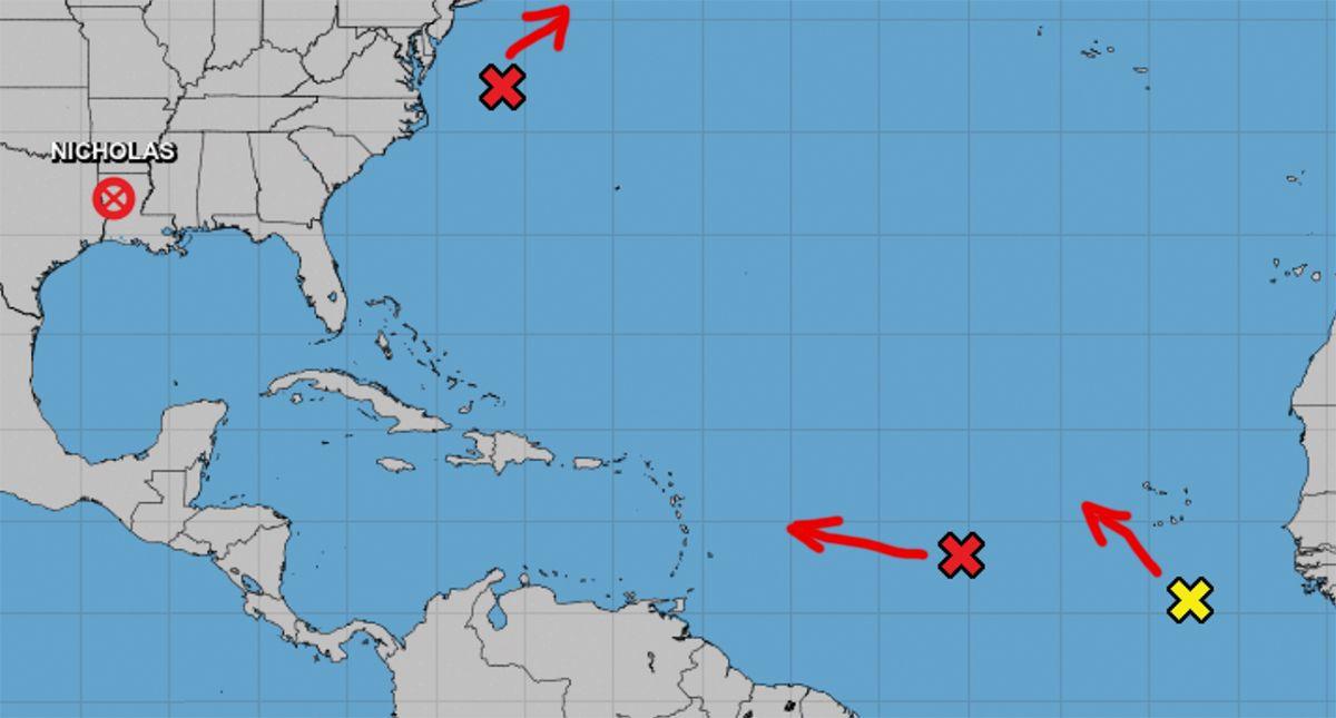 Localización y proyección de movimiento de zonas de mal tiempo, 17 de sept de 2021.