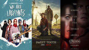 En esta combinación de fotos, el arte promocional para We Are Lady Parts, una serie que se estrena el 3 de junio en Peacock; Sweet Tooth, una serie que se estrena el viernes en Netflix; y The Conjuring: The Devil Made Me Do It, una película que se estrena el viernes en cines y HBO Max.