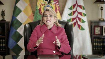La presidenta de Bolivia Jeanine Áñez habla en un discurso pregrabado ante la Asamblea General de Naciones Unidas el miércoles 23 de septiembre del 2020.