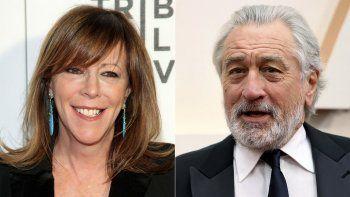 """Jane Rosenthal asiste al estreno de """"All We Had, en el Festival de Cine de Tribeca 2016, en Nueva York el 15 de abril de 2016, izquierda, y Robert De Niro en los Oscar en Los Angeles el 9 de febrero de 2020. Rosenthal y De Niro son cofundadores del Festival Tribeca que este año cumple su 20 aniversario."""