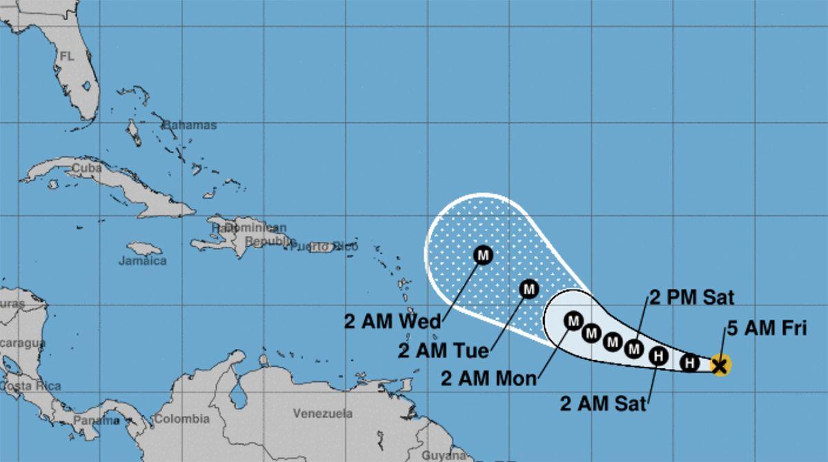 Proyección de traslación para huracán Sam, 2021.