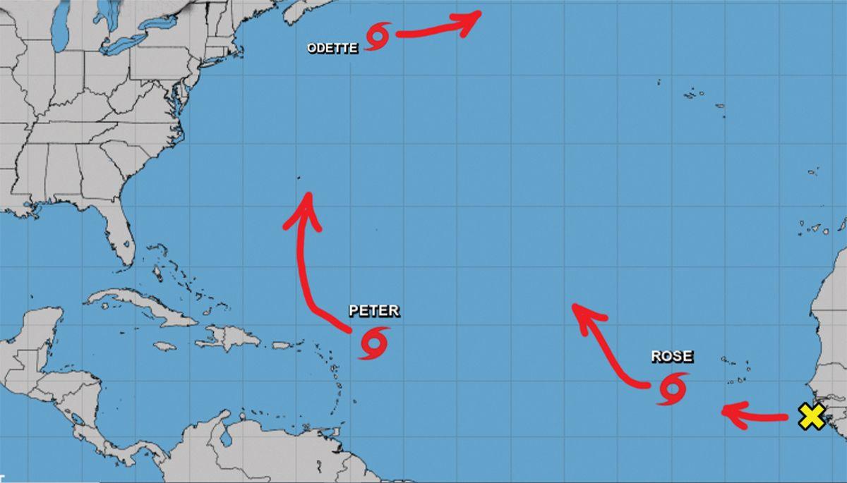 Localización y proyección de movimiento de tormentas tropicales Odette, Peter y Rose, 19 de sept de 2021.