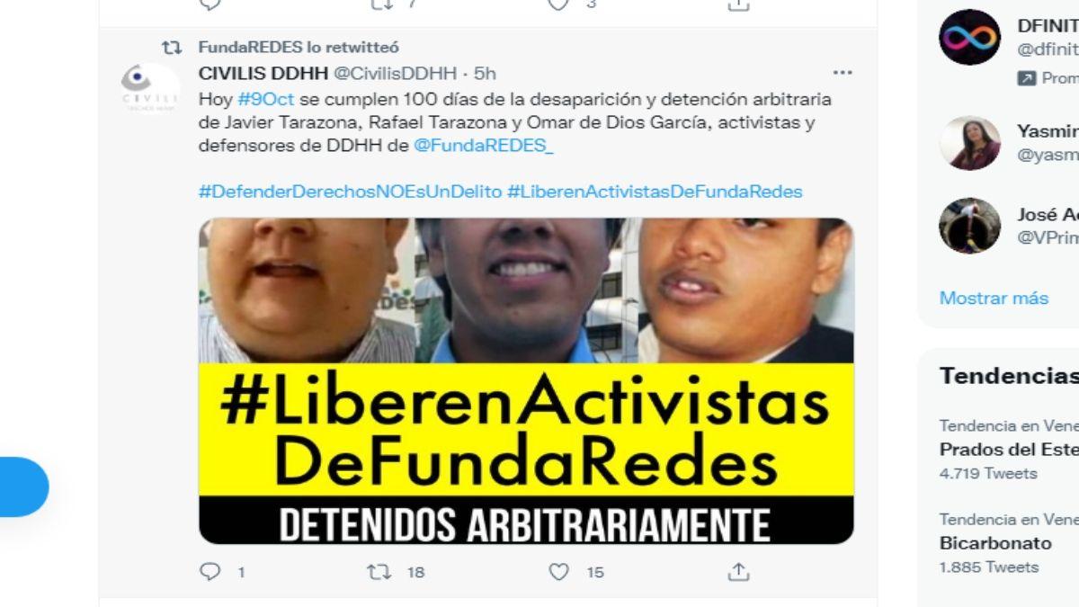 La ONG Fundaredes exige la liberación de sus activistas.