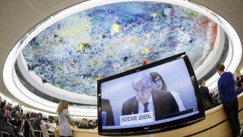 El secretario general de Naciones Unidas, António Guterres, ofrece un discurso en la apertura del Segmento de Alto Nivel para la 43ra sesión del Consejo de Derechos Humanos en la sede europea de la ONU, el lunes 24 de febrero de 2020.