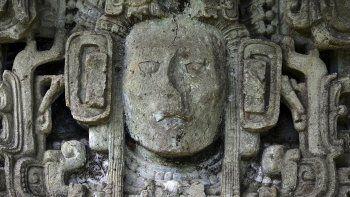 Vista de un detalle de las Ruinas de Copán, uno de los sitios más importantes de la civilización maya, que fue inscrito hace 40 años en la lista del Patrimonio Mundial por la Organización de las Naciones Unidas para la Educación, la Ciencia y la Cultura (UNESCO), en el departamento de Copán, Honduras el 20 de septiembre de 2020.