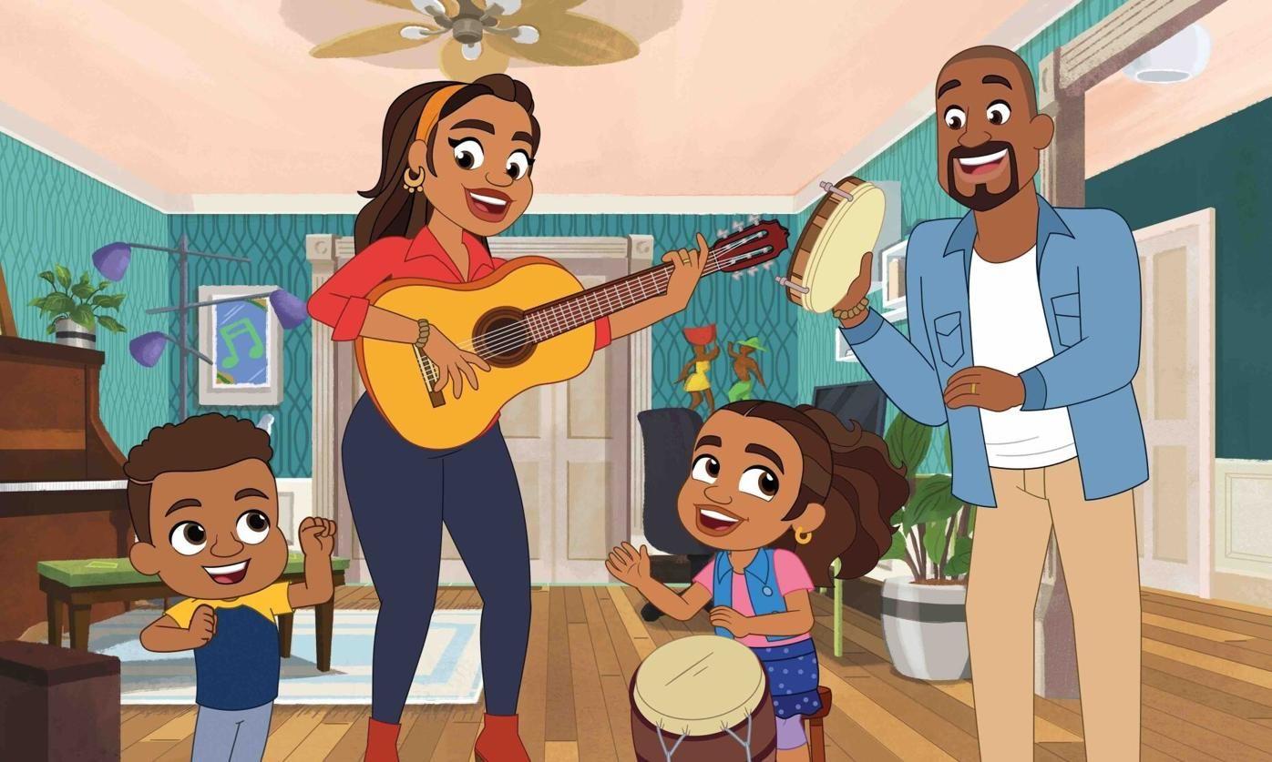 En esta imagen difundida por PBS Kids, una escena de la serie animada Almas Way enfocada en Alma Rivera, segunda de la derecha, una niña puertorriqueña que vive en el condado neoyorquino del Bronx con sus padres y su hermano menor, Junior. La serie creada por Sonia Manzano, quien interpretó a María en Sesame Street de 1971 a 2015, se estrena el 4 de octubre.