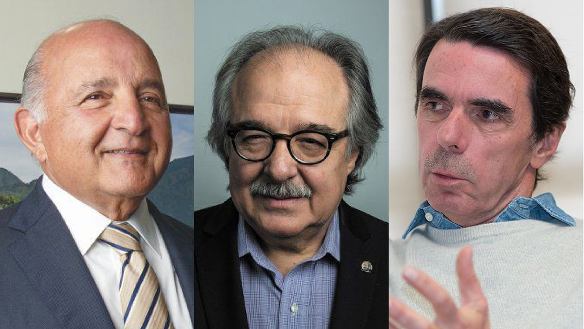 Nelson J. Mezerhane G., Asdrúbal Aguiar y José María Aznar.