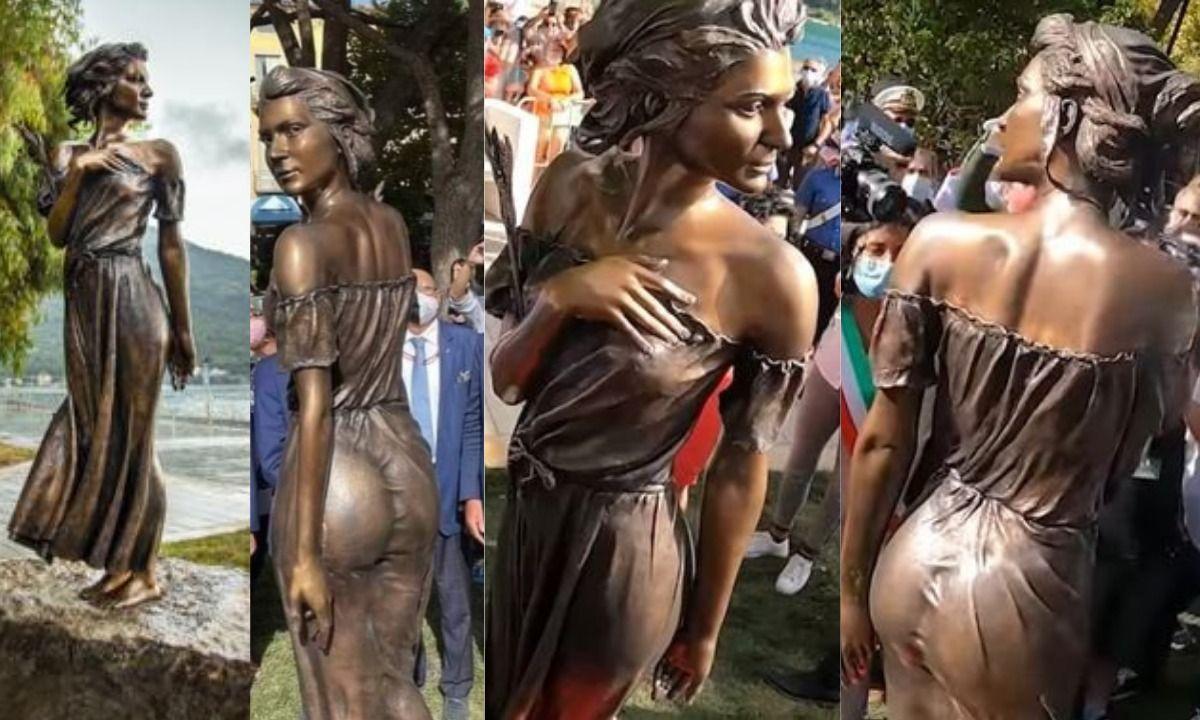 Escultura de bronce de la Spigolatrice di Sapri en Sapri, Italia