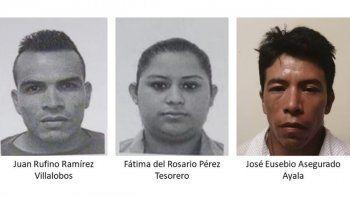 Las autoridades de El Salvador han detenido a tres personas: de izquierda a derecha Juan Rufino Ramírez, Fátima Pérez y José Eusebio Asegurado por tráfico de personas.