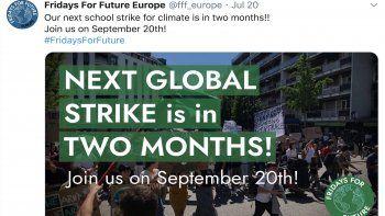 Captura de pantalla de la cuenta de TwitterFridays For Future Europe, donde se anuncia la movilización a favor del medioambiente el próximo 20 de septiembre.