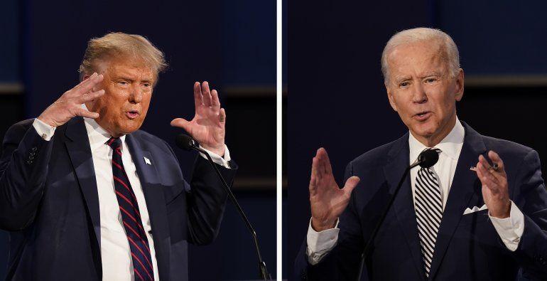 Combinación de fotos del presidente Donald Trump y del exvicepresidente Joe Biden durante su primer debate hacia las elecciones presidenciales de noviembre