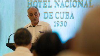 El embajador de la Unión Europea en Cuba, Alberto Navarro, durante una reunión del Ministerio de Inversión Extranjera con empresarios y diplomáticos en La Habana.