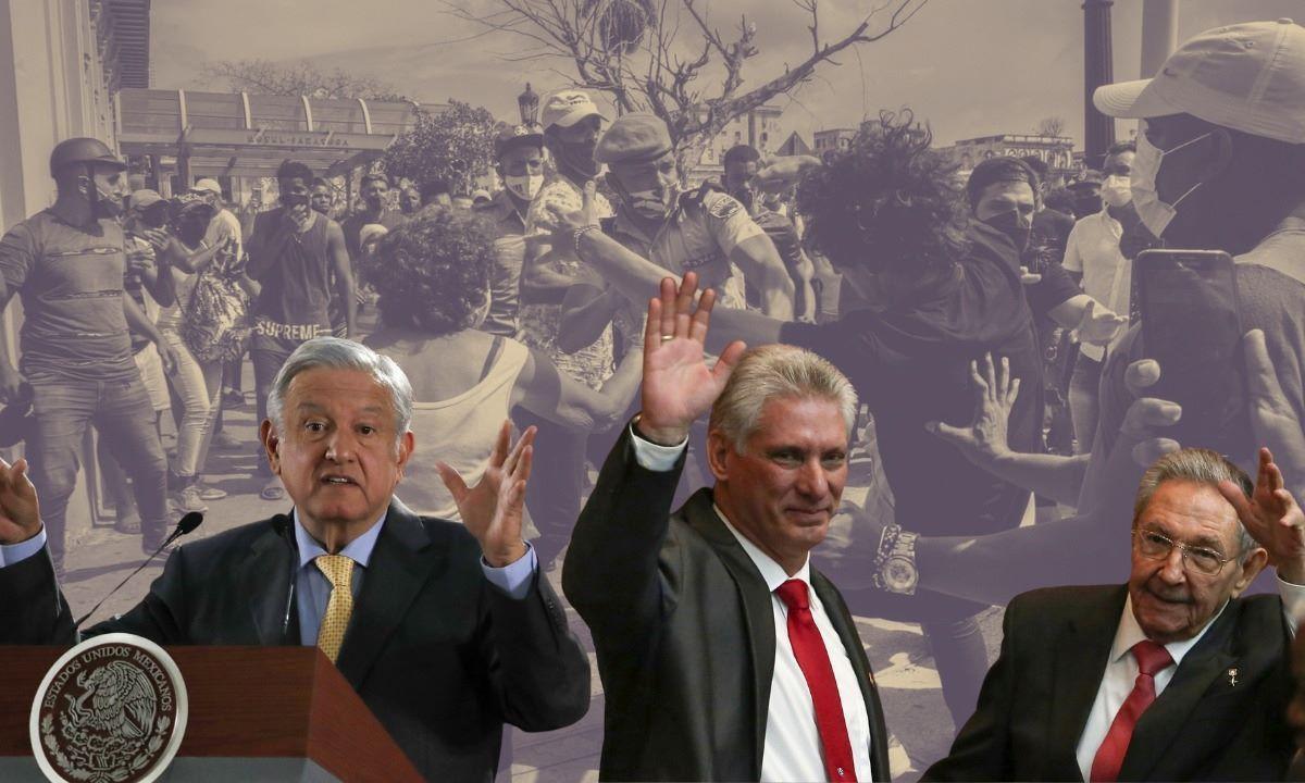 El presidente de México Andrés Manuel López Obrador, el designado gobernante cubano Miguel Díaz-Canel y el dictador Raúl Castro.