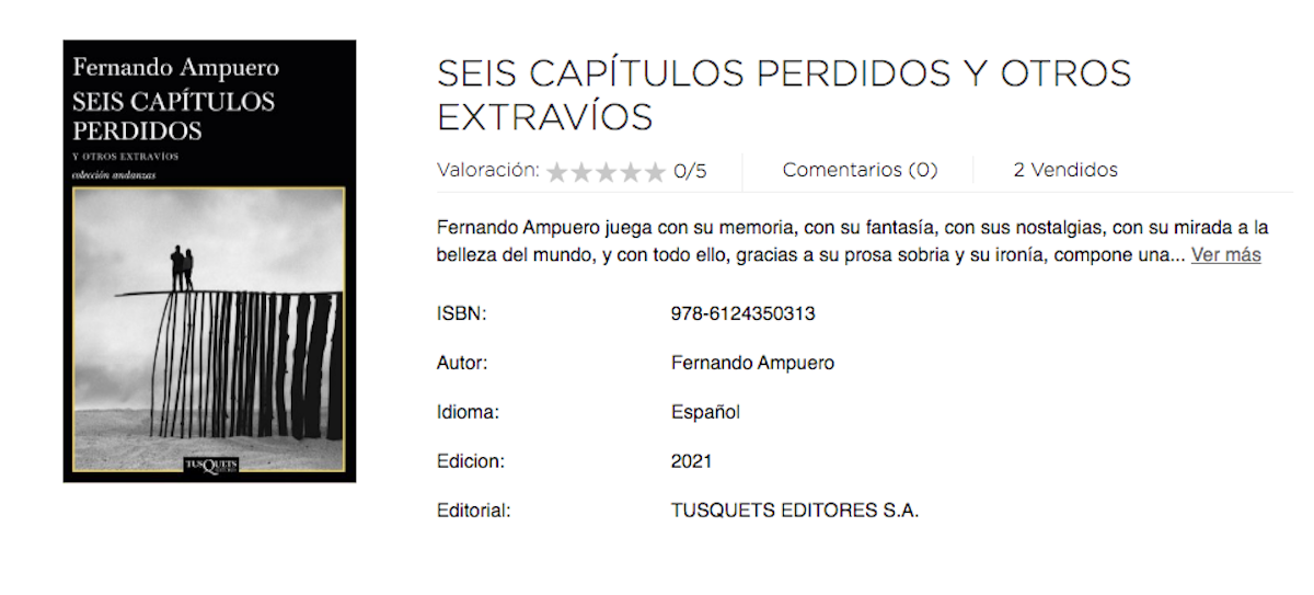 """Captura de pantalla del portal de SBS Librería Internacional que muestra la portada y sinopsis del nuevo libro del escritor peruano Fernando Ampuero,""""Seis capítulos perdidos y otros extravíos""""."""