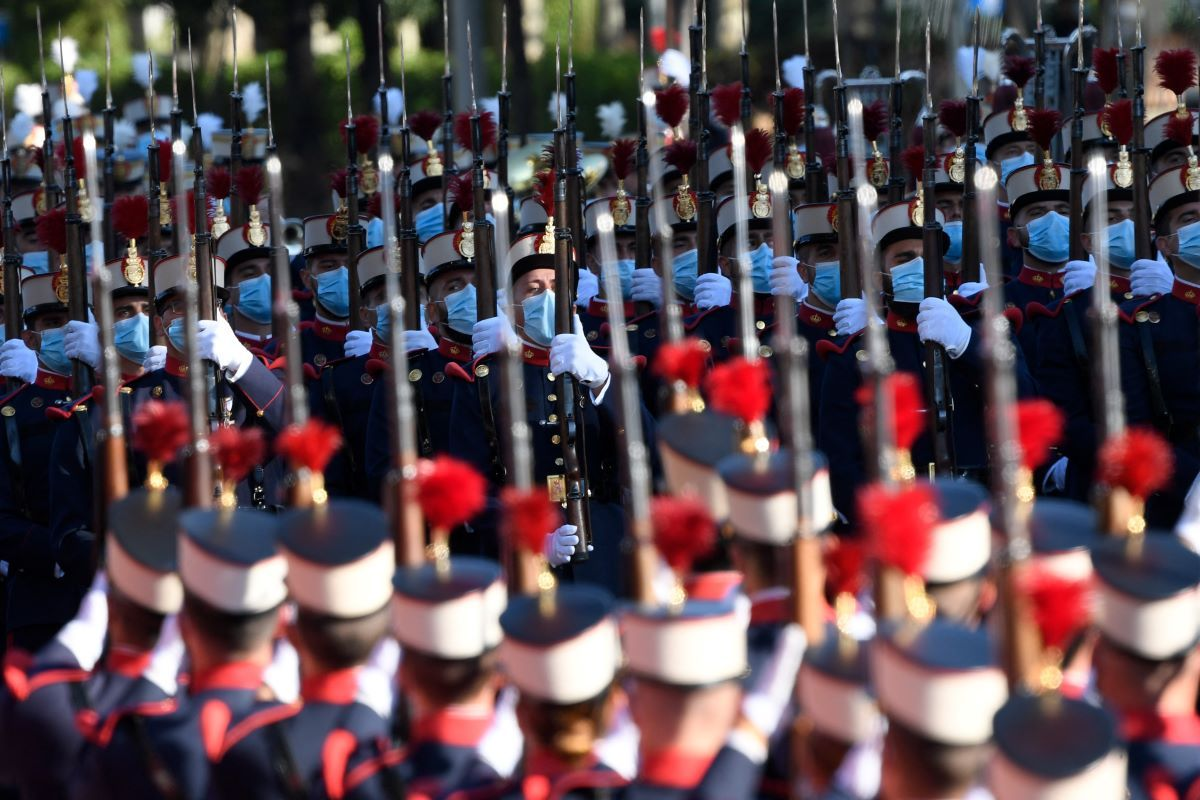España celebró con un desfile militar por el Día de la Hispanidad, el martes 12 de octubre de 2021 en Madrid.