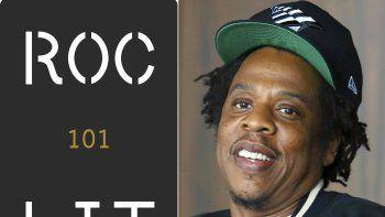 En esta combinación de fotografías el logotipo del nuevo sello editorial Roc Lit 101, izquierda, y Jay-Z, fundador Roc Nation, que iniciará el sello junto con la editorial Random House.