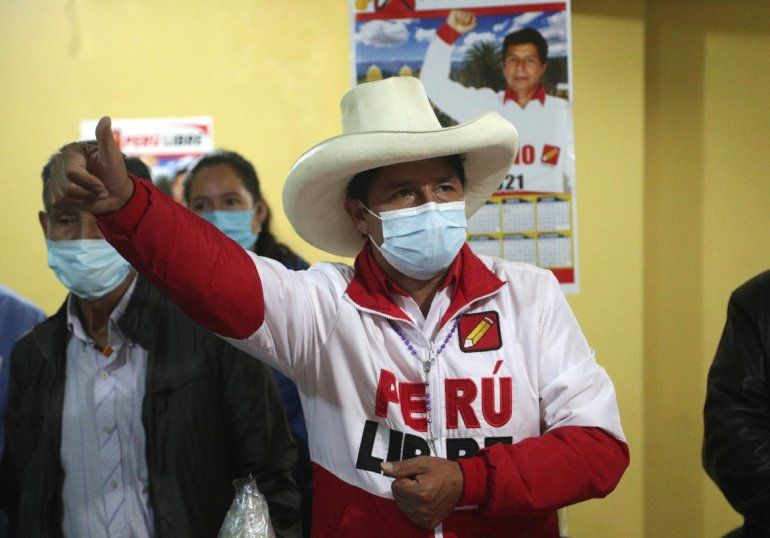 El candidato presidencial del partido Perú Libre