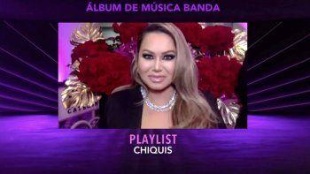 En esta captura de pantalla, Chiquis acepta el Mejor Álbum de Banda por Playlist en la Ceremonia de Estreno durante la 21a Entrega Anual del Latin GRAMMY en American Airlines Arena el 19 de noviembre de 2020 en Miami, Florida.