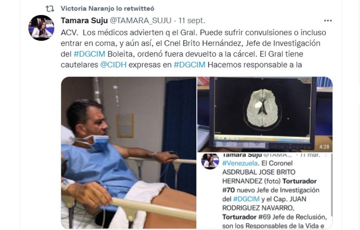 Pedro Naranjo, interno en el centro de la Dirección General de Contrainteligencia Militar (DGCIM) de Boleíta, en Caracas, fue trasladado el 9 de septiembre a la Policlínica Metropolitana, debido a que había sufrido un Accidente Cerebrovascular.