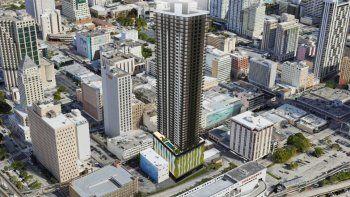 Imagen digitalizada de lo que será el edificio Downtown 1st (centro de la foto) en 22 SW 1st Street, el desarrollo multifamiliar más nuevo de la Melo Group en el Distrito Comercial Central (CBD) de Miami.