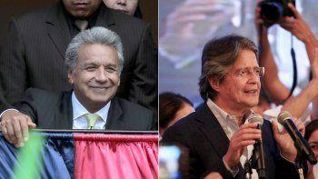 Lenín Moreno (izq.), a quien el CNE ecuatoriano da como ganador irreversible en las elecciones de este domingo, y Guillermo Lasso, candidato por la oposición, que califica de ilegítimos los resultados.